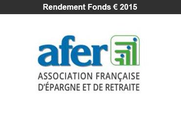 Assurance-vie : rendement 2015 du fonds euro du contrat AFER